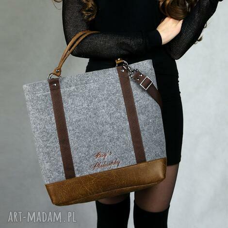 bags philosophy tote classic brown, torba, torebka, filcowa, z, filcu