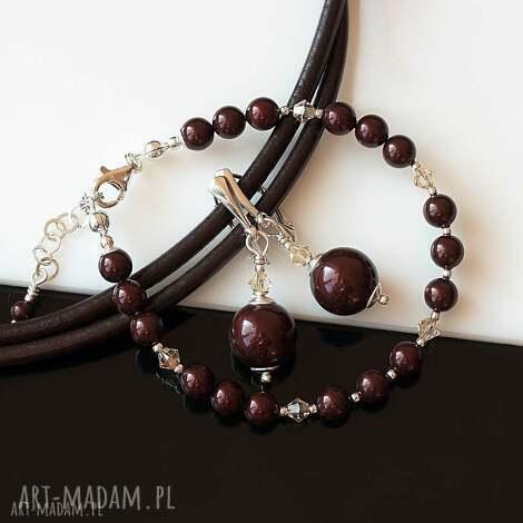 maroony - komplet, perły, swarovski, kryształy, srebro, elegancki