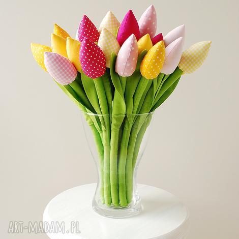 dekoracje tulipany - bukiet bawełnianych kwiatów, tulipany, kwiaty, kwiatki