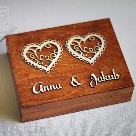 biala konwalia pudełko na obrączki - dwa serca, pudelko, drewnianepudelko, drewno