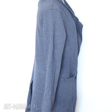szary damski dzianinowy dresowy płaszcz, dresowy, wiosna, lato, dzianina