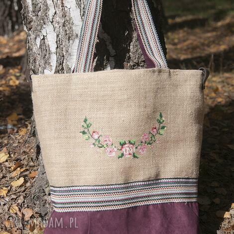 torba na zakupy, juta haft kwiaty, torba, juta, haft