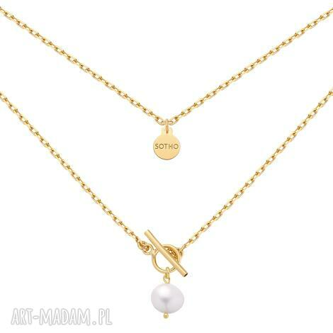 złoty masywny łańcuszek z naturalną perłą, perła, naturalna