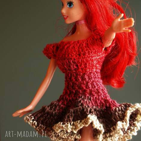 sukienka dla lalki - sukienkadlalalki, sukienkabarbie, sukienkaszydełkowa