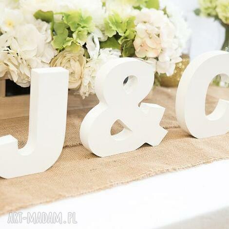 ślub dekor dekoracja slubna inicjały pary młodej 20cm białe, dekoracje, paramłoda