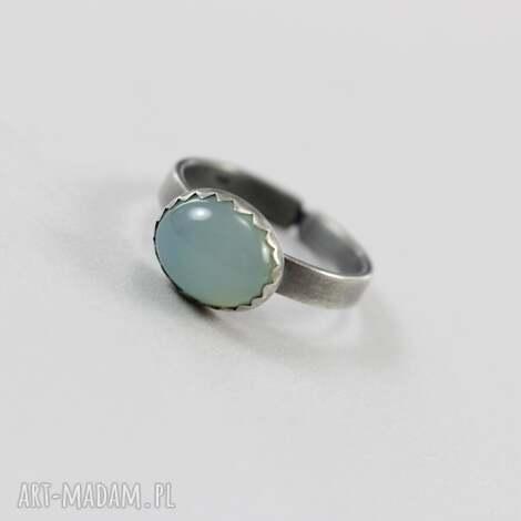 agat aqua w srebrze - pierścionek, agat, aqua, srebro, oksydowany