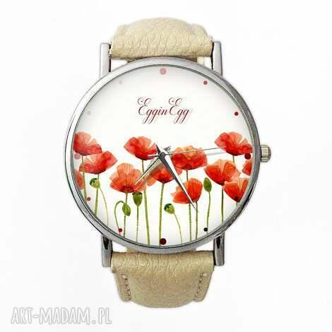 maki - skórzany zegarek z dużą tarczą - zegarek, maki, kwiaty, polne