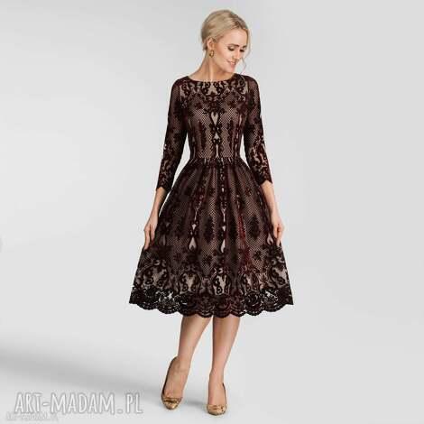 sukienka tina 3/4 midi nikoletta bordo podkład cielisty, sukienka, koronkowa