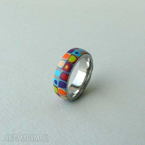 stalowa obrączka z polymer clay - pierścionki, retro, geometryczne, kolorowe