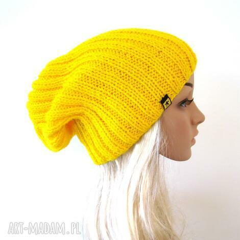 żółta czapka unisex - czapka, czapeczka, unisex, krasnal, lekka, pachnąca