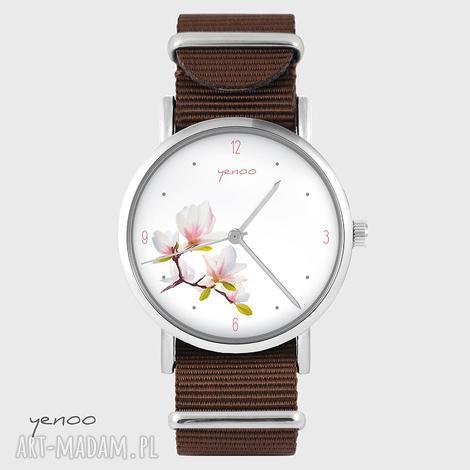 zegarek - magnolia brązowy, nato, zegarek, bransoletka, magnolia, unikatowy