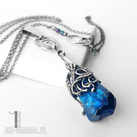 frosen iii srebrny naszyjnik z kwarcem tytanowym - srebro, oksydowane, kwarc, wirewrapping