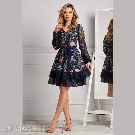 sukienki sukienka neva mini lorena, mini, z falbankami