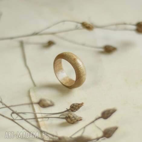 duża obrączka z egzotycznego drewna tekowego (męska obrączka, dla niego)
