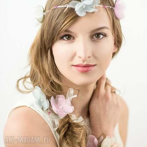ozdoby do włosów pastelowy wianek, jedwab, pastele, kwiaty