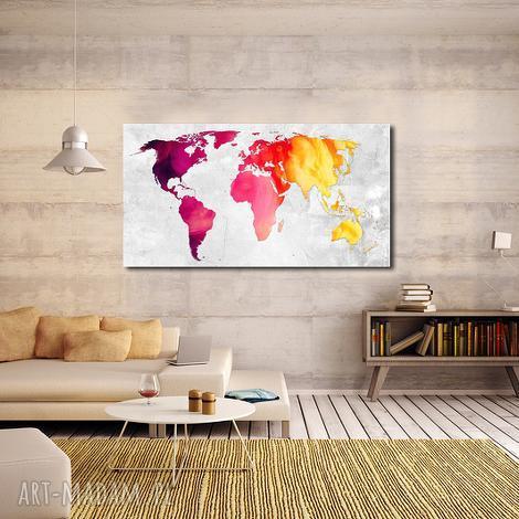 obraz mapa świata -dms5 - 120x70cm na płótnie, mapa, obraz, dom