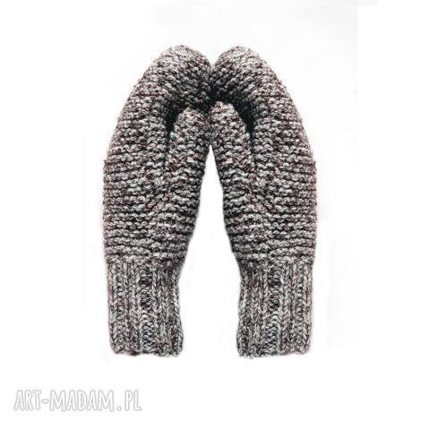 dwuwarstwowe brązowe -melanż rękawiczki, mitenki dziergane, wełniane