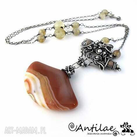 karamela - agat karmelowy, kwarc rutylowy, kamień słoneczny - agat, srebro