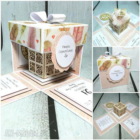 exploding box w piórach (komunia, ślub, prezent chrzest, pamiątka, urodziny)