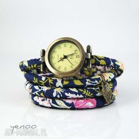 zegarek, bransoletka - granatowy,kwiaty, bransoletka, kwiaty, rzemień
