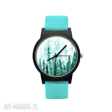 zegarek z silikonowym paskiem las, drzewa, choinki, klimatyczny, prezent