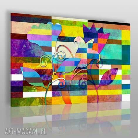 obrazy obraz na płótnie - kolorowe kwiaty 120x80 cm 43601 , kwiaty, kwadraty