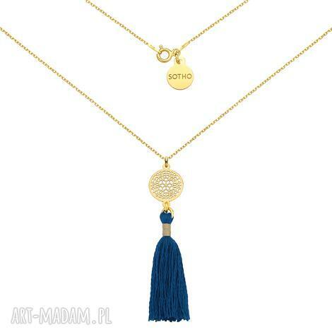 złoty naszyjnik ze szmaragdowym chwostem i rozetką - naszyjnik, pozłacany