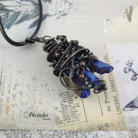 amulet - naszyjnik z kwarcem tytanowym - naszyjnik, miedź, kwarc, tytanowy, prezent
