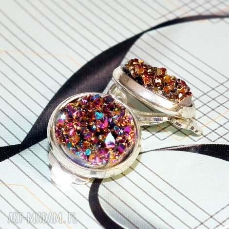 klipsy iskry fioletowo złote, klips, fiolety, złoty, małe, prezent, druz biżuteria