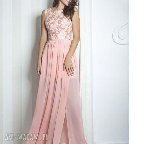 sukienki sukienka sharon ii maxi różowa, długa, wieczorowa, koronka, szyfon, wesele