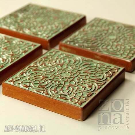 ceramika dekory zielono - brązowe, dekory, kafle, ornament, dekoracja, kafle-ścienne
