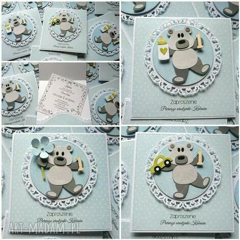 mały miś - zaproszenie, autko, kartka, misiu, roczek, niedźwiedź