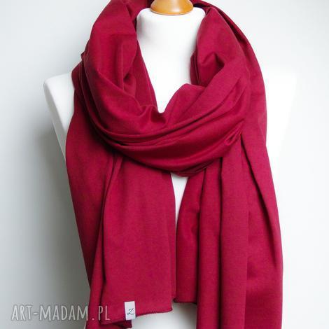 szal bawełniany szalik, chusta bordowa, modny szal bawełniany ekologiczny - szal