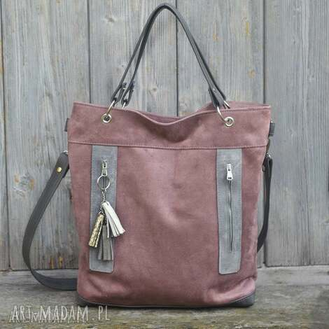 torba brudny róż plus skóra szara, torebka, alkantara, skóra, kieszenie, pojemna