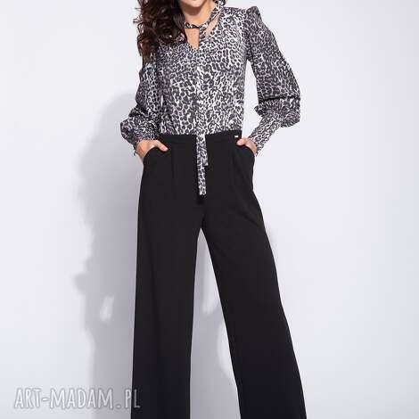spodnie kombinezon damski z górą w panterkę, print, panterka, krawatką