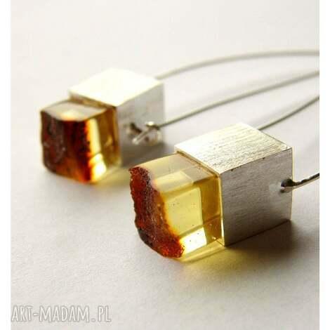 bursztynowe kolczyki bursztyn biżuteria ze srebra - bursztyn, bursztyny, bursztynowy