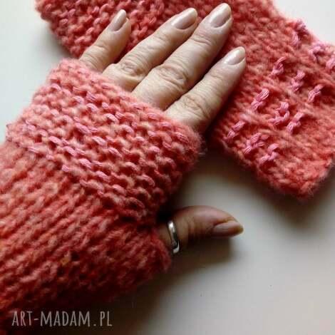 rękawiczki mitenki (merynos, wełniane, nadrutach)