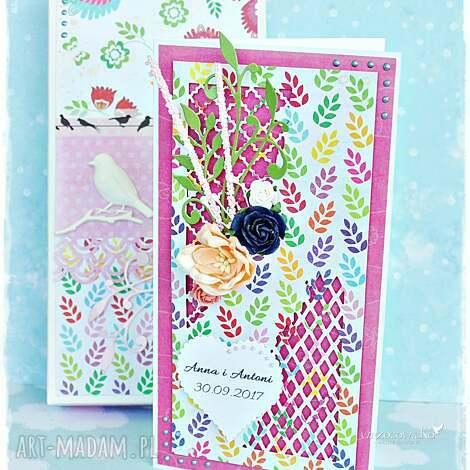 personalizowana kartka ślubna w pudełku - kartka, pudełko, prezent, ślub