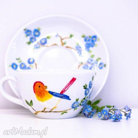 ceramika filiżanka malowana rajski ptak, malowana, ręcznie