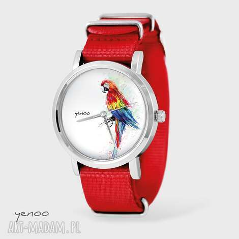 zegarek, bransoletka - czerwona papuga czerwony, nato, bransoletka, nato