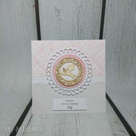 zaproszenie kartka hostia vs gołąbek - komunia, chrzest, pamiątka, elegancka