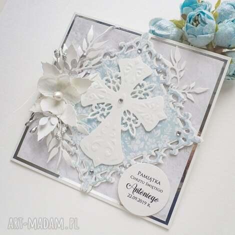 kartka na chrzest, pamiątka chrztu - krzyż, kartka z życzeniami, prezent