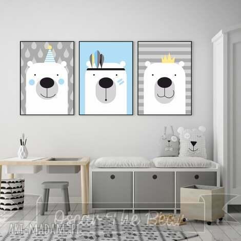 zestaw plakatów dla dzieci trzy urocze misie a3 miś, niebieski, plakaty, obrazki