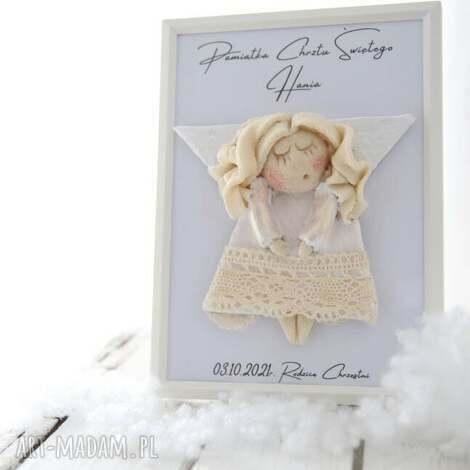mini oryginalny prezent na chrzest dla dziewczynki (anioł w ramce, oryginalny prezent)