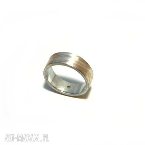 obrączka mokume gane srebro-miedź - pierścionek unikat