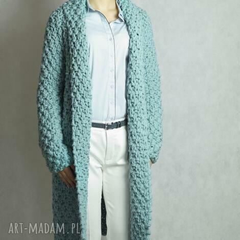 turquoise chunky, sweter, gruby, płaszcz, druty, kardigan swetry
