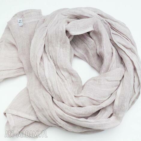 lniany szal chusta w kolorze popielatym gołębim, modny elegancki wiosenny szal