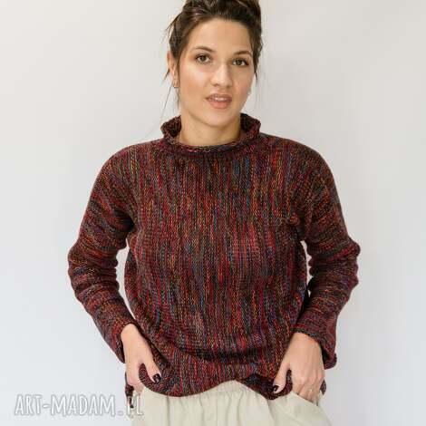 swetry wielokolorowy, kimonowy sweter, ciepły swet, damski sweter z golfem