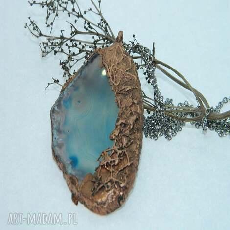 plaster agatu w otoczeniu miedzi-n108, agat, wisior, unikalna biżuteria