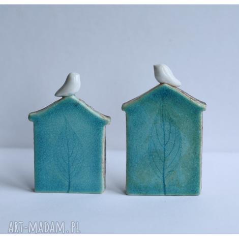 ceramika zestaw dwóch domków zimowych, ceramika, domek, ptak dom